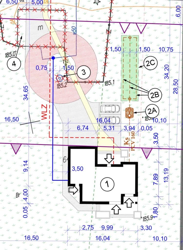 Mapa do celów projektowych z naniesionym budynkiem Zenon