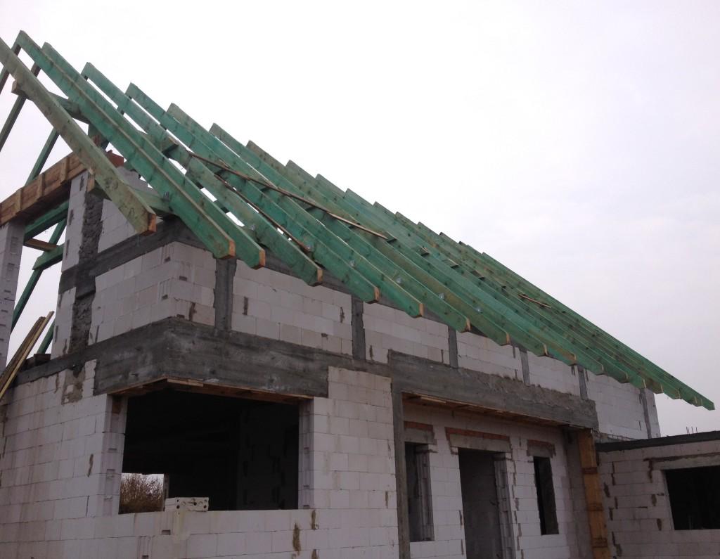 Więźba dachowa , murłata, krokwy i jętki